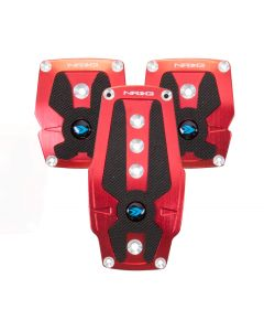 Brushed Red Aluminum Sport Pedal w/ Black Rubber Inserts