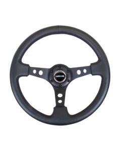 350mm Sport Reinforced Deep Dish Steering Wheel - Black Leather