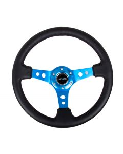 350mm Sport Reinforced Deep Dish Steering Wheel - Blue