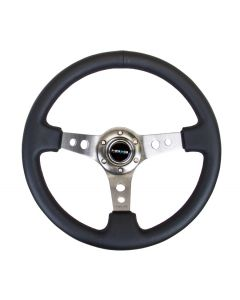 350mm Sport Reinforced Deep Dish Steering Wheel - Gun Metal