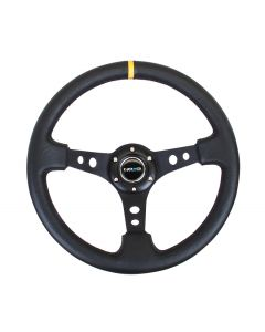 350mm Sport Reinforced Deep Dish Steering Wheel - Black Leather w/Yellow 12 O'Clock