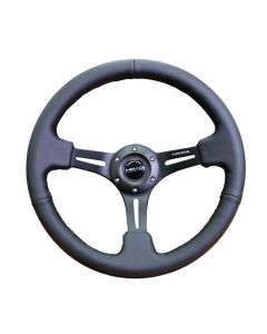 350mm Leather w/Black Stitching Deep Dish Steering Wheel
