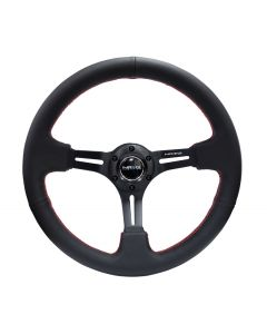 350mm Sport Reinforced Nardi Style Steering Wheel - Black Leather w/Red Stitching