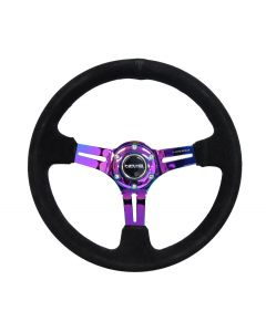 350mm Sport Reinforced Deep Dish Steering Wheel - Black Suede w/Neochrome Inner