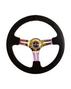 350mm Sport Reinforced Deep Dish Steering Wheel - Black Suede w/Purple Stitching