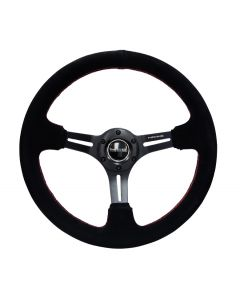 350mm Sport Reinforced Nardi Style Steering Wheel - Black Suede w/Red Stitching