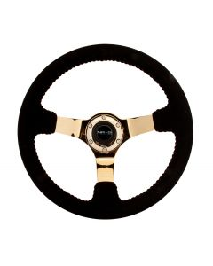 350mm Race Style Deep Dish Steering Wheel - Black Suede, Red Stitch w/Chrome Gold Spoke