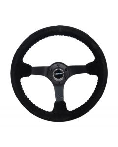 350mm Suede w/Black Baseball Stitching Deep Dish Steering Wheel