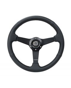 350mm Perforated Leather w/Black Stitching Deep Dish Steering Wheel