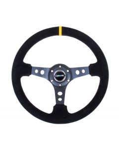 350mm Suede w/Black Spokes & Yellow Stripe Deep Dish Steering Wheel