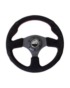 320mm Suede Race Style Steering Wheel w/Red Stitching